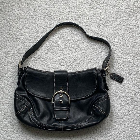 Coach Handbags - Coach Black Leather Buckle Flap Shoulder Bag